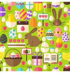 Happy Easter Flat Design Green Seamless Pattern vector