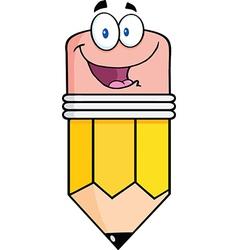 Happy Pencil Cartoon Character vector image