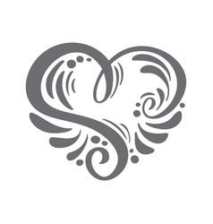 Heart love hand drawn calligraphic vector