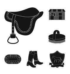 Hippodrome and horse black icons in set collection vector