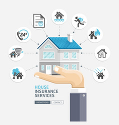 House insurance services business hands holding vector