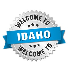 Idaho 3d silver badge with blue ribbon vector