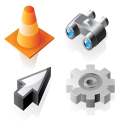 Isometric interface symbols vector image