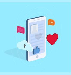 Isometric smart phone wirh various vector