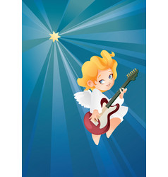 kid angel musician guitarist flying on a night sky vector image