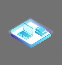 Laptop and books set icons vector