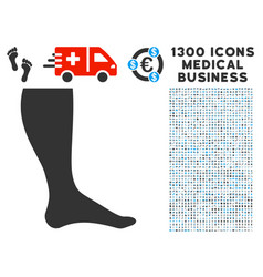 Leg icon with 1300 medical business icons vector