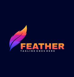 logo feather gradient colorful style vector image