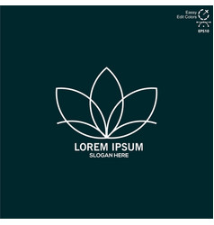 logo line lotus flower simple and modern vector image