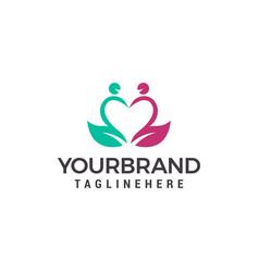 Love couple heart logo dating service logo design vector