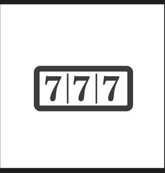Lucky seven on slot machine icon vector