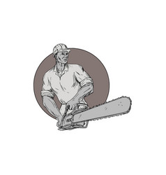 Lumberjack arborist holding chainsaw oval drawing vector