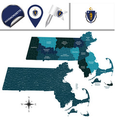 map of massachusetts with regions vector image