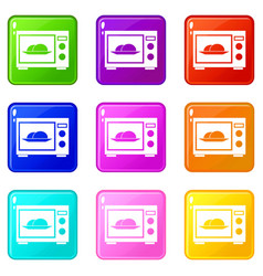 Microwave icons 9 set vector