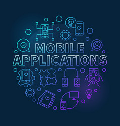mobile applications round colored linear vector image