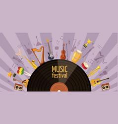 music festival banner horizontal cartoon style vector image
