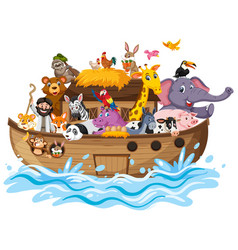 Noahs ark with animals on water wave isolated on vector