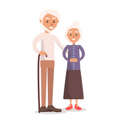 Old grandmother and grandfather with white hair vector