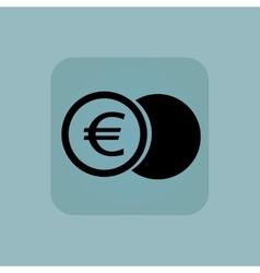 Pale blue euro coin icon vector