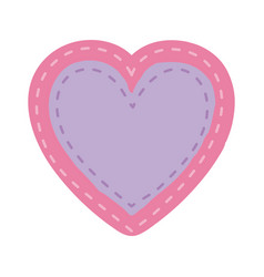 pink color heart shape decorative frame with lilac vector image
