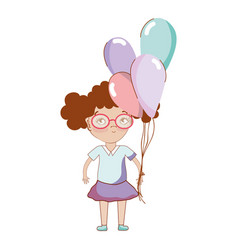 pretty girl with balloons and glasses vector image