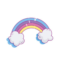 rainbow clouds cute vector image