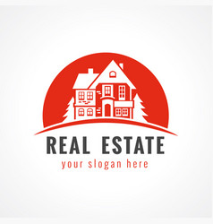 real estate logo cottage sun vector image