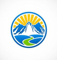 Rocky mountain landscape logo vector