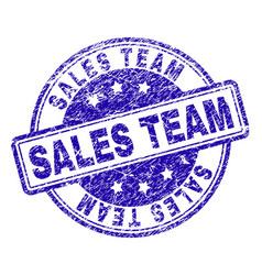 Scratched textured sales team stamp seal vector