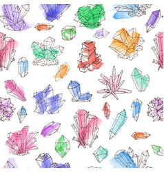Seamless background with colored doodle crystals vector