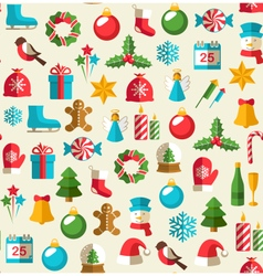 Seamless Winter Pattern with Christmas Flat Icons vector