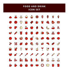 set food and drink icon with filled outline vector image
