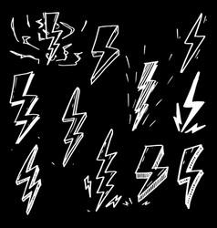 set hand drawn doodle electric lightning bolt vector image