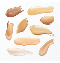 set isolated cosmetic brush stroke concealer vector image