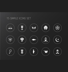 set of 15 editable religion icons includes vector image