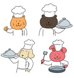 set of animal chef vector image
