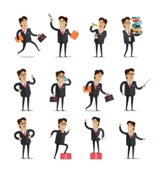 Set of Businessman in Different Poses vector