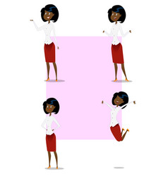 set of cartoon business woman showing different vector image