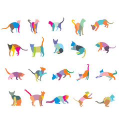 Set of colorful mosaic cats silhouettes-2 vector