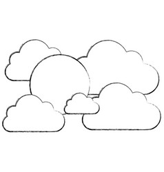 silhouette clouds with sun icon vector image