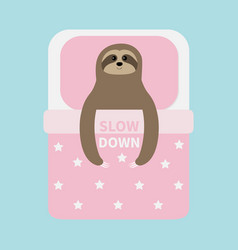 sloth sleeping slow down cant sleep going to bed vector image