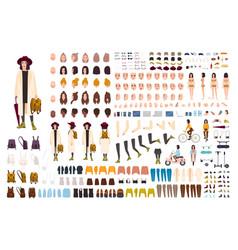 stylish young girl creation set or diy kit vector image