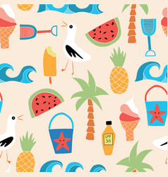Summer beach icons flat seamless pattern vector