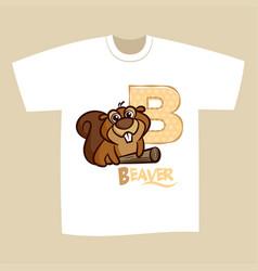 T-shirt print design letter b beaver vector