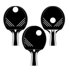 Table tennis racket with ball silhouettes vector