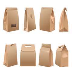 Takeaway paper bags set on white vector