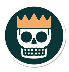 Tattoo style sticker a skull and crown vector