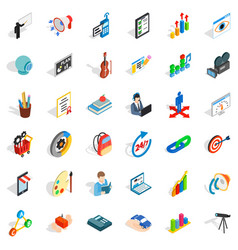 Telescope icons set isometric style vector