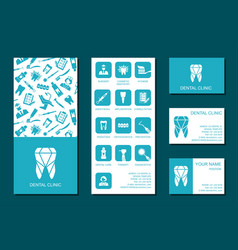 template flyer and business cards for dental vector image