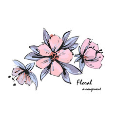 Tender floral arrangement pink apple tree flowers vector